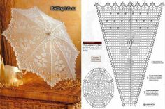 Diagram paraplu haken Crochet Doily Diagram, Crochet Doily Patterns, Filet Crochet, Irish Crochet, Crochet Shawl, Crochet Doilies, Knitting Patterns, Knit Crochet, Mantel Redondo
