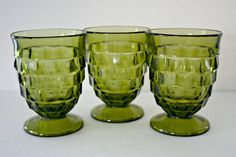 Whitehall by Colony or Indiana Glass, Avocado Green 9 oz Tumbler Drinking Glass, Set of 4 Cube Footed Glass Geometric Vtg Kitchen Drinkware  8 oz tumbler or drinking glass  Whitehall pattern made by either Colony or Indiana Glass  Set of 3.  Each glass measures approximately 4 3/8 tall.  In good, gently used vintage condition. No noted chips or cracks.  ************************************************************************* PLEASE NOTE all items are vintage and can be assumed to be used…