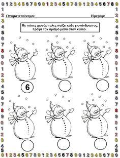 Math For Kids, Winter Activities, In Kindergarten, Homeschooling, Worksheets, Snowman, Count, Projects, Crafts