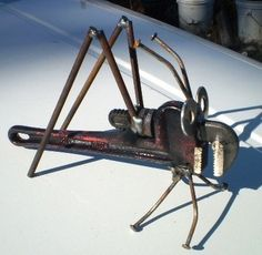 Recycled Lawn & Garden Art Pipe Wrench Grasshopper Free Shipping