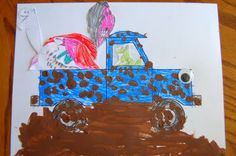 Little Blue Truck by Alice Schertle.  Craft for mud-themed story time.