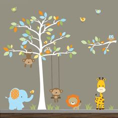 Jungle Wall Decal with Tree by Modernwalls on Etsy, $159.00