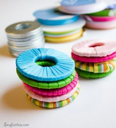 Ribbon Wrapped Washers for Pattern Weights - SewFearless.com - Plus Washer Decorating Roundup!