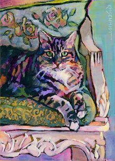 Louisiana Edgewood Art - PR161 Rose Queen tabby cat art