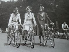 Woman in the middle is riding a mixte in Paris 1942. Can you believe it?