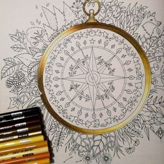 My gold compass! A new wip for a color along. #johannabasford #enchantedforest #secretgarden #lostocean #adultcoloringbook #adultcoloring #fabercastell #polychromos #prismacolor #coloringbookforadults #coloringbook #topcoloridos #coloringfun #magicaljungle #enchantedcoloring #lyrarembrandt #colorindolivrostop #coloringtherapy #instaart #carandache #wip #workinprogress #coloringforadults #livrodecolorir #colorterapia #compass #gold