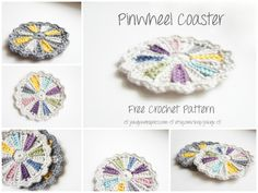 Free Crochet Pattern - Totally Customizable Piwheel Coaster - Ideal Stash Buster - Downloadable PDF by JaKiGu