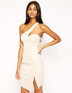 Michelle Keegan Loves Lipsy One Shoulder Body-Conscious Dress with Asymmetric Hem - Cream