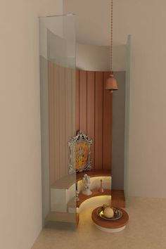 pooja space puja designs modern corner temple indian interior designer consultant homify mandir prayer decor idea door wall stunning living