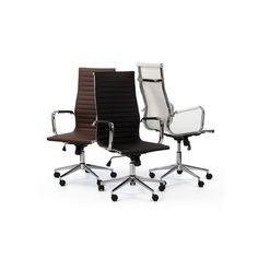 silla oficina giratoria replica eames alta marrón | Tiendas On