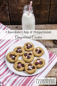 Mini Chocolate Chip & Peppermint Gingerbread Cookies- These cookies pair gingerbread, dark chocolate, and candy canes to make the perfect Christmas treat!