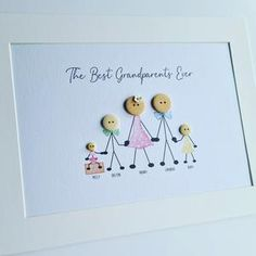 Personalised Family Print, Personalized Buttons, Personalized Gifts, Button Family Picture, Family Picture Frames, Grandparents Christmas Gifts, Grandparent Gifts, Nanny Gifts, Family Gifts