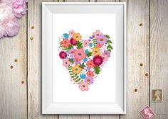 Stampa floreale decorata con un cuore di fiori, perfetta come decorazione da parete o per fare un fantastico regalo di San Valentino!