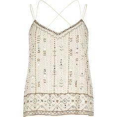 River Island White bead embellished cami ($76) ❤ liked on Polyvore featuring tops, v neck tank, white cami, v neck camisole, white sleeveless top and white sequin tank top