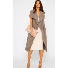 Valerie Mocha Sleeveless Waterfall Coat-One Size ($25) ❤ liked on Polyvore featuring outerwear, coats, brown, sleeveless coat, white coat, brown coat and waterfall coat