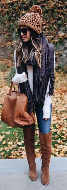 #Winter #Outfits / Beanie + Pashmina Scarf