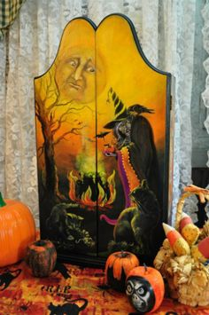 HALLOWEEN CABINET WITCH BLACK CATS MOON CROW SKELETONS SPIDER FOLK ART