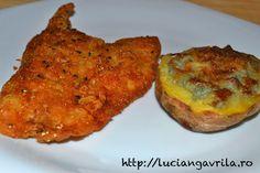 Filé de șalău pané - cu 3 garniture diferite                                 Breaded #perch fillet with three different garnishes, at your choice