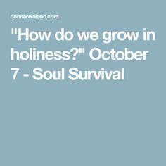 """""""How do we grow in holiness?"""" October 7 - Soul Survival"""