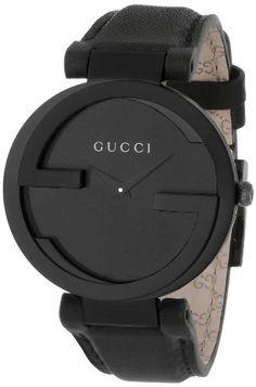Gucci Women's YA133302 Interlocking Black Leather Watch