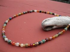 """Gorgeous multi colored genuine indian  agate necklace. 16 inches with 3"""" extension in solid sterling silver. Sterling clasp and bronze and gold seed bead spacers.   $30"""