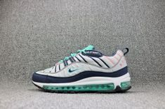 new concept 8f9b1 ed6b3 Nike Air Max 98 Pure Platinum Obsidian Kinetic Green 640744 005 Mens  Running Shoes