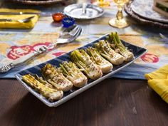 Grilled Leeks with Tarragon Vinaigrette from Dinner at Tiffani's on CookingChannel.com