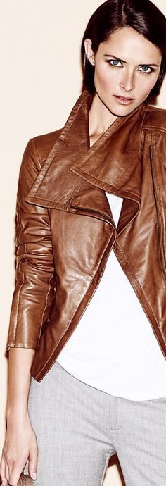 brown leather jacket @roressclothes closet ideas women fashion outfit clothing style apparel Chris Nicholls Array