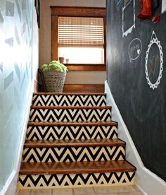 Bold Ways to Redo Your Outdated Staircase Without Remodeling Turn that old staircase into a masterpiece without breaking out the tools.Turn that old staircase into a masterpiece without breaking out the tools. Home Remodeling Diy, Home Renovation, Foyers, Basement Steps, Balustrades, Faux Brick Walls, Staircase Makeover, Bright Decor, Painted Stairs