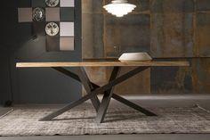 table à manger en bois -plateau-bois-pietement-acier-inox-Riflessi-shangai