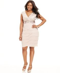 Jessica Howard Plus Size Lace Tiered Dress | macys.com | Fancy ...