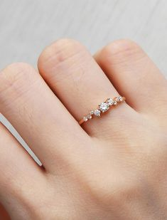 Rose gold Engagement Ring Unique Cluster Engagement Ring Mini Floral Diamond ring Flower wedding Bridal Jewelry Anniversary Gift for women by NyFineJewelry on Etsy https://www.etsy.com/listing/522536308/rose-gold-engagement-ring-unique-cluster