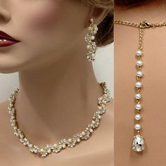 "Custom order for Karen ,golden bridesmaid jewelry set, Choker with 6"" pearl backdrop & matching earrings"