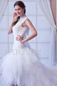 vestidos de novia Sin Mangas Romántico Corte A Court Corazón Blanco Asimétrico Cremallera Cristal Encaje Cascade Tul