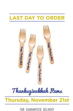 11/21 Last day to order Thanksgivukkah utensils for guaranteed on time arrival!