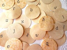 Coffee Stained Alphabet Circles. Embellishment. by ThePaperBasket, $2.75