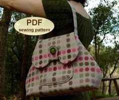 DESCRIPTION: Please note: If you wish to make a few bags from Charlie's Aunt sewing patterns or books to sell, please read the rules in the additional information section of our policies page. This delightful 1950s style PDF SEWING PATTERN is for a good-sized practical day bag that