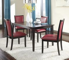 Trishelle 5-Piece Rectangular Dining Table Set with Red Chairs by Ashley Furniture   Part of the Trishelle Collection Sku: D550-25+4x04 Store Availability: In Stock and On Display Compare At Price: $1,579.95 Sale Price: $879.95