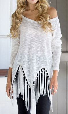 White Tassel Shirt- Stylish White Tassel Shirt