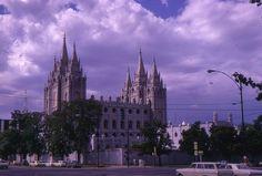 35mm Slide Temple Square Salt Lake City Cars Street Scene Utah Kodak 1969