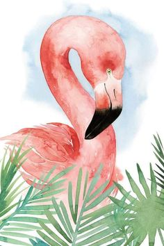 East Urban Home 'Watercolor Flamingo Composition I' Watercolor Painting Print on Canvas - Flamingos - My Canvas, Artist Canvas, Canvas Wall Art, Canvas Prints, Canvas Size, Buda Wallpaper, Flamingo Painting, Frame Wall Decor, Framed Wall