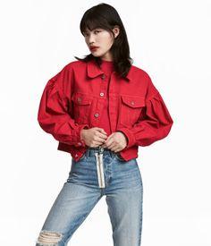 Kort jeansjacka | Röd | Dam | H&M SE