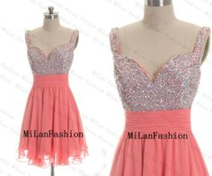 Chiffon Bridesmaid Dress Short Prom Dress Coral Sequined Custom Cocktail Dress Wedding Mini Party Dresses Evening Gown on Etsy, $119.00