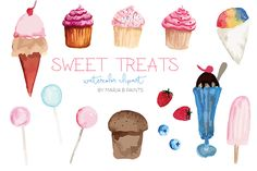 Watercolor Clip Art - Sweets by Maria B. Paints on Creative Market