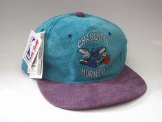 50bfd7ba492 Vintage Suede Charlotte Hornets snapback hat