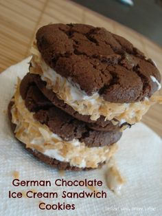 Share it! So these cookies are to die for!  They are soft & chocolatey (cookie), cool & creamy (ice cream), crunchy & sweet (coconut).  I had been craving german chocolate anything & these sure hit the spot!  In my opinion they are best served soft & freshly made, but they are also amazing to make …