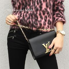 """Up Close and Stylish (@upcloseandstylish) """"Up Close and today - #LouisVuitton chain 'Louise' bag and #MarcJacobs 'Shocking' on nails."""""""