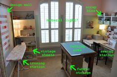 Sewing Fabric Storage Sewing room - maybe a rolling kitchen island could be the cutting area/workspace to save room. Sewing Room Design, Sewing Room Storage, Craft Room Design, Sewing Spaces, Sewing Room Organization, My Sewing Room, Fabric Storage, Sewing Rooms, Wall Design