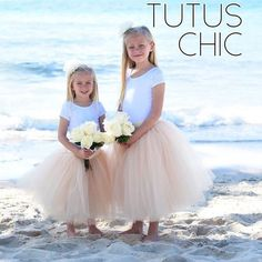Girls in champagne and ivory tulle skirts at their parents' wedding vow renewal ceremony! �love the photos from my customers