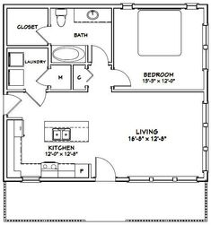 House -- -- 780 sq ft - Excellent Floor Plans - need to adjust water for north house 1 Bedroom House Plans, Guest House Plans, Small House Floor Plans, Cottage Floor Plans, Cottage Plan, Tiny Guest House, Cabin Plans, The Plan, How To Plan